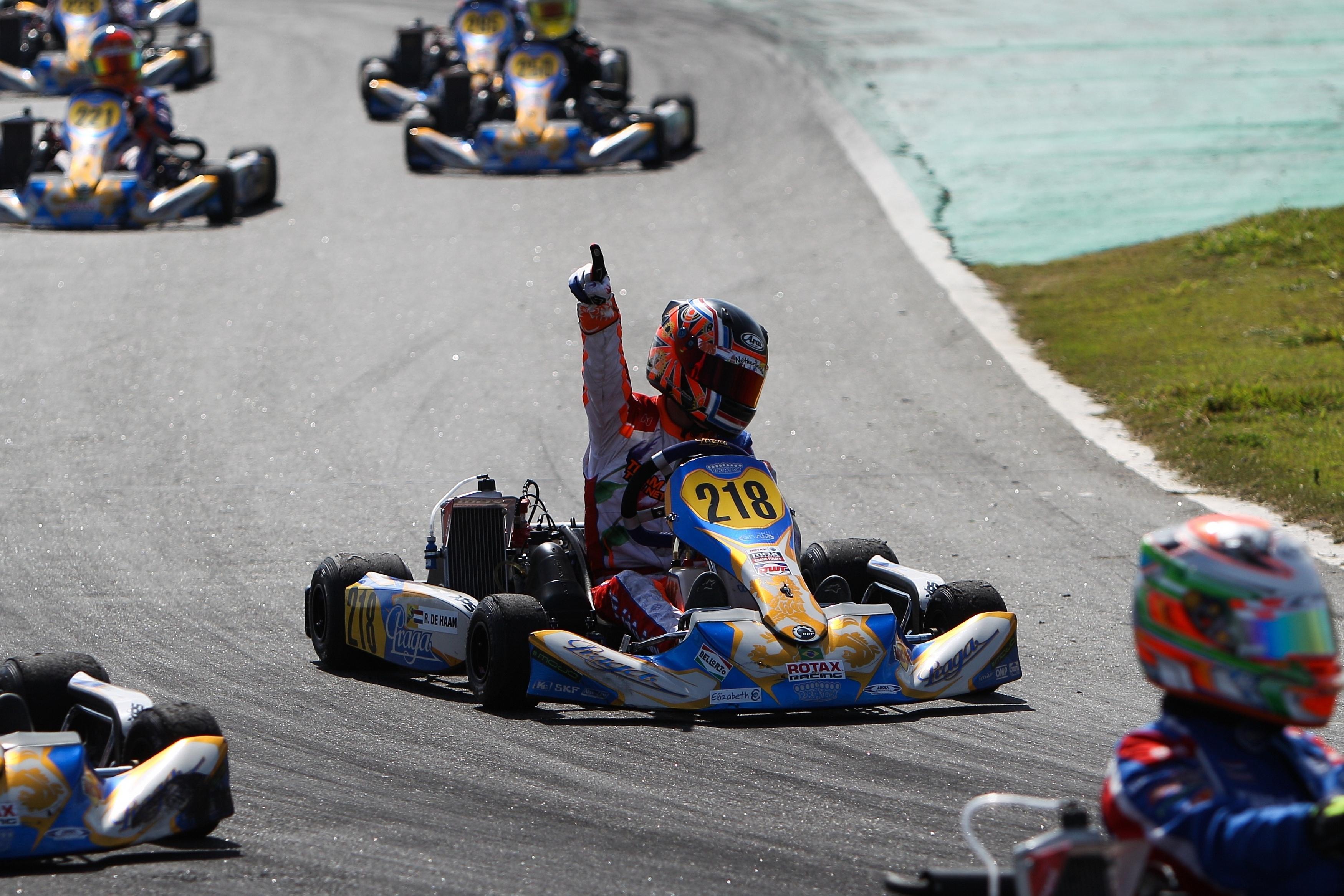Rookie Robert de Haan uit Eerbeek stormt naar wereldtitel karten!