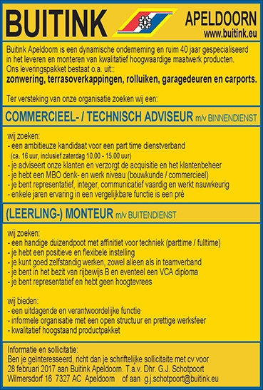 COMMERCIEEL- / TECHNISCH ADVISEUR m/v BINNENDIENSTnnen een (LEERLING-) MONTEUR m/v BUITENDIENST