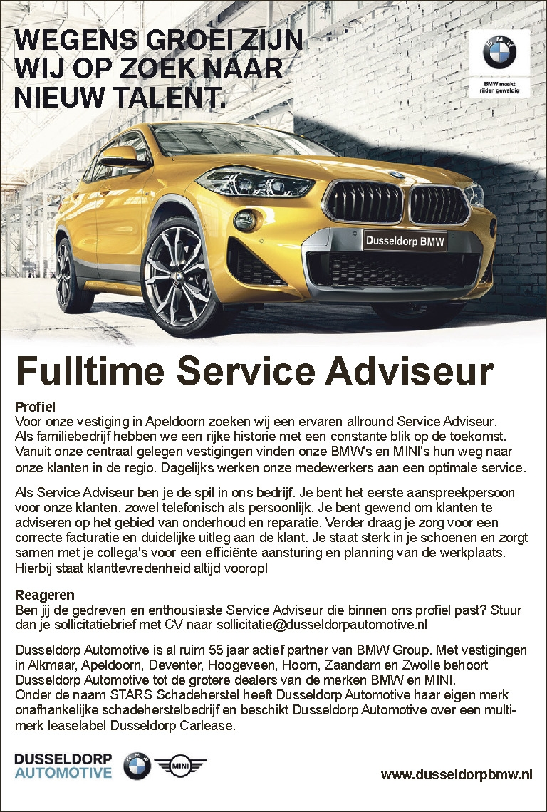 Fulltime Service Adviseur