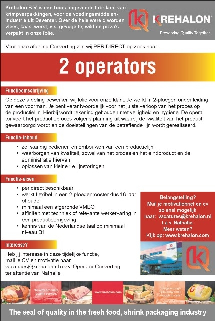 Krehalon is dringend op zoek naar operators!