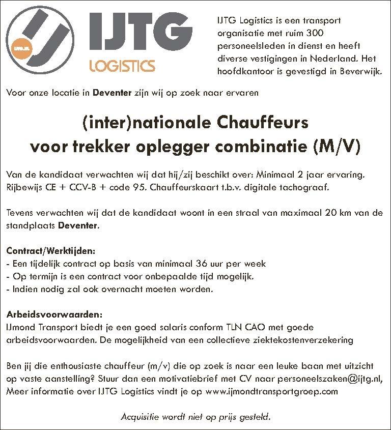 (inter)nationale Chauffeursvoor trekker oplegger combinatie (M/V)