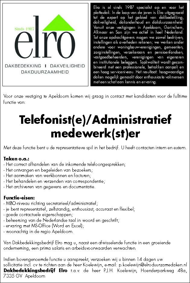 Telefonist(e)/Administratief medewerk(st)er