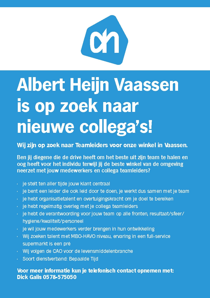 Albert Heijn Vaassen is op zoek naar nieuwe collega's!