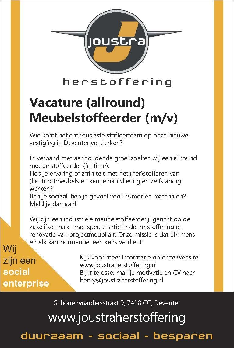 Vacature (allround)nMeubelstoffeerder (m/v)
