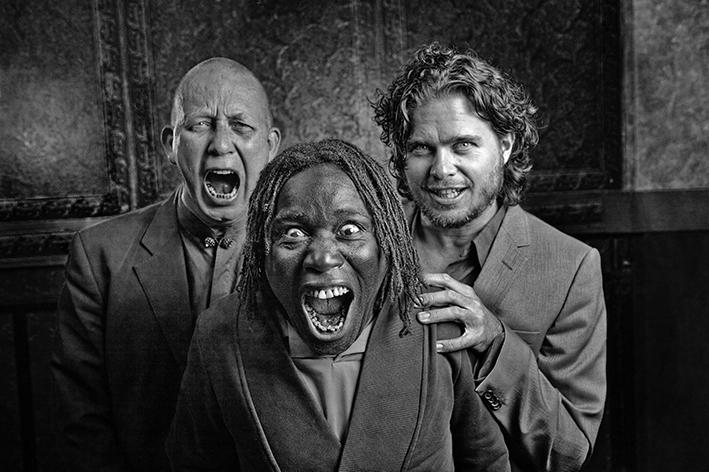 Trio Reijseger Fraanje Sylla in Theater Bouwkunde