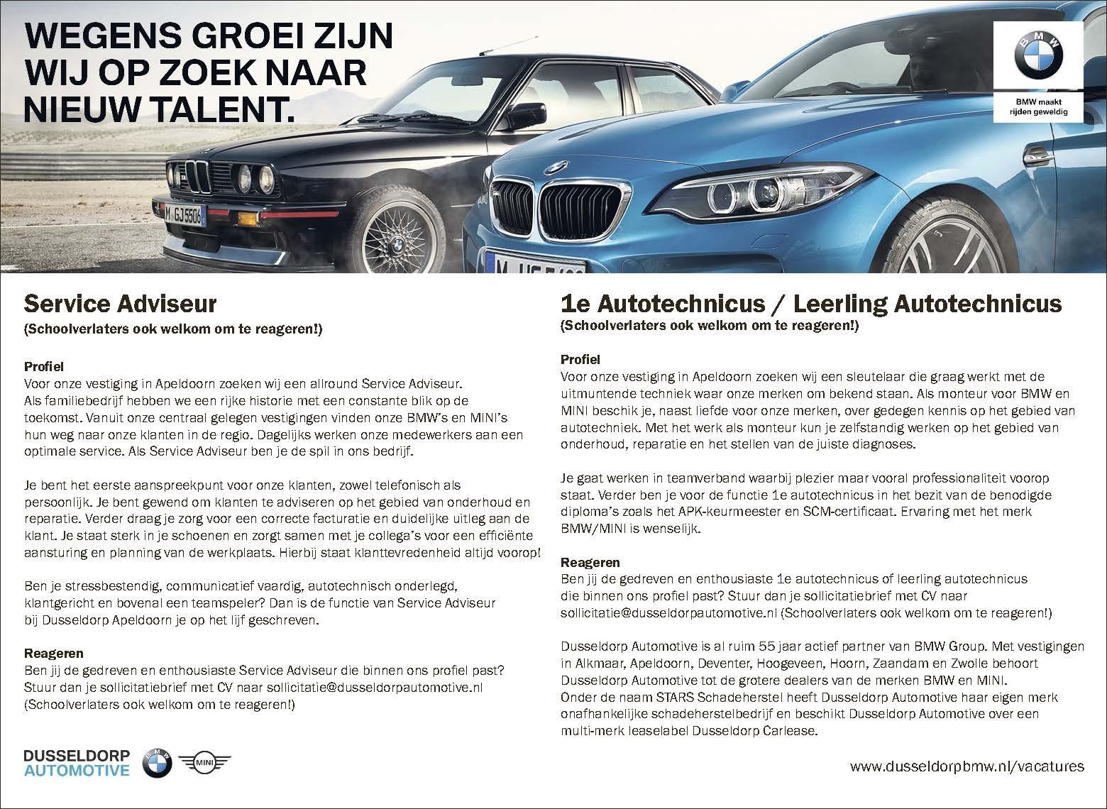 Service Adviseur / 1e Autotechnicus / Leerling Autotechnicus