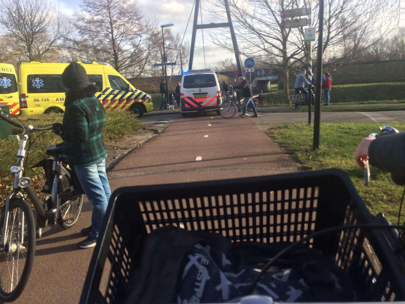 Ongeval op fietsbrug