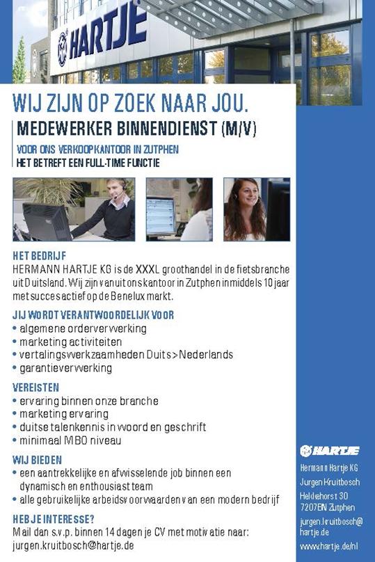 MEDEWERKER BINNENDIENST (M/V)