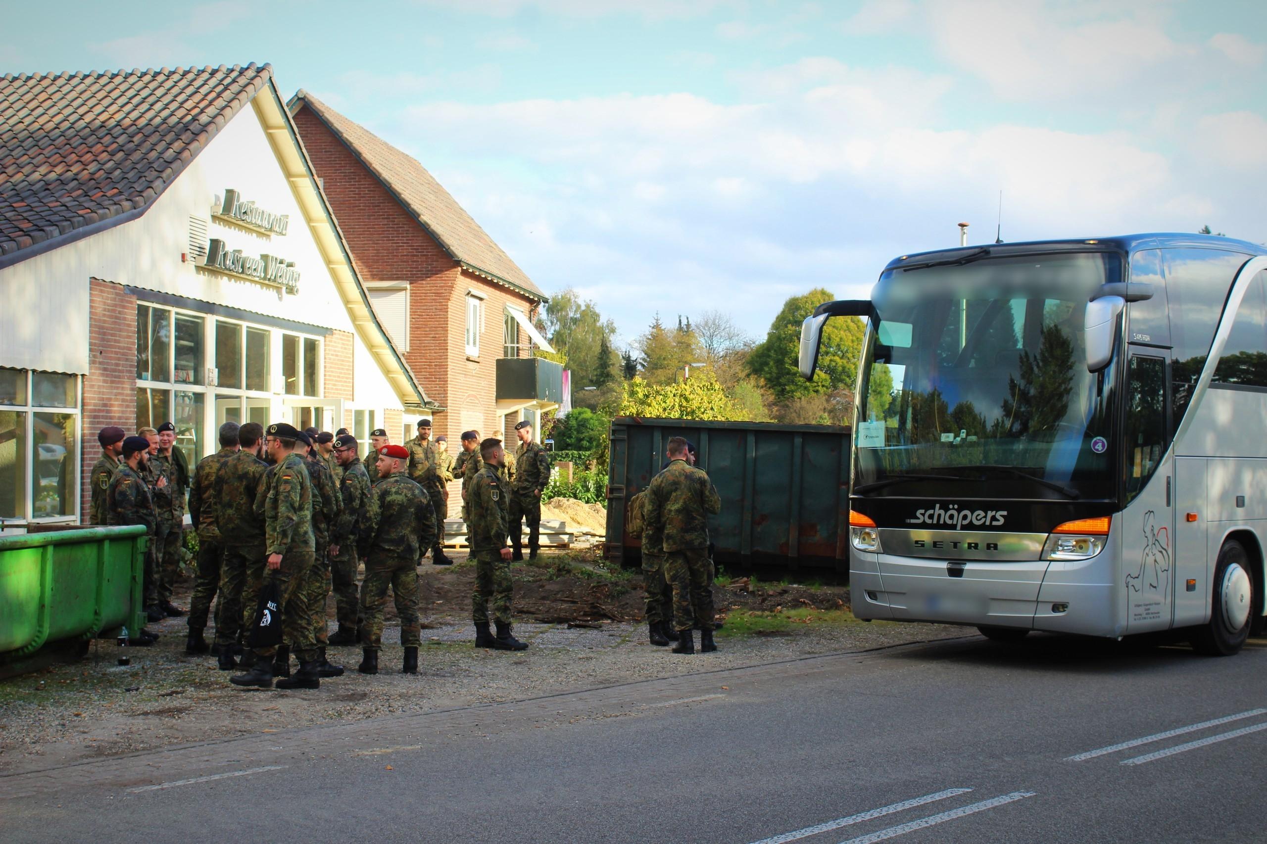 Duitse militairen met de schrik vrij