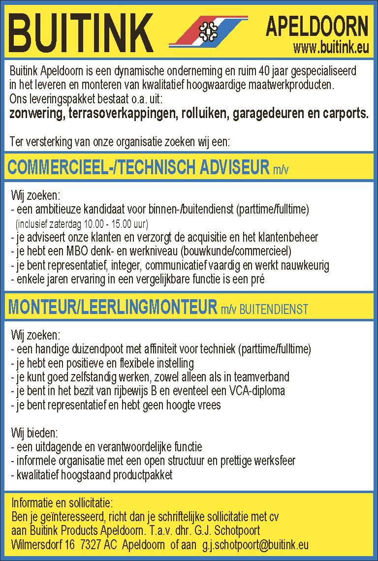 COMMERCIEEL-/TECHNISCH ADVISEUR m/vMONTEUR/LEERLINGMONTEUR m/v BUITENDIENST