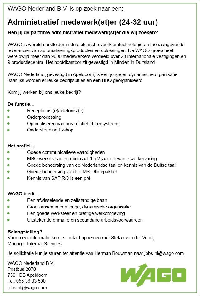 Administratief medewerk(st)er (24-32 uur)