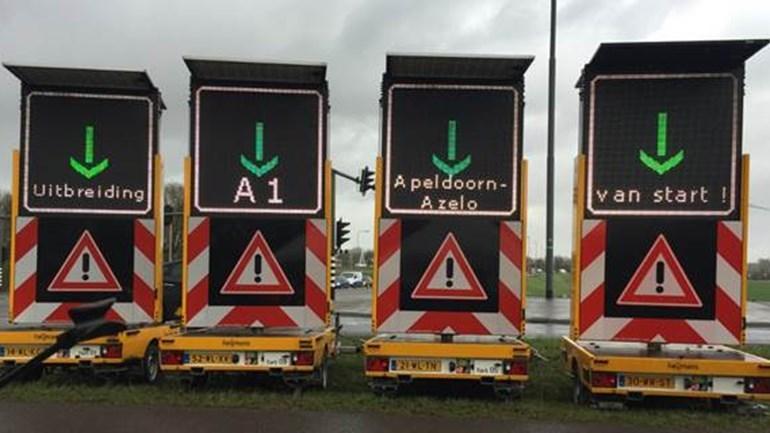 Wegwerkzaamheden A1 Apeldoorn-Azelo vanaf 28 juni