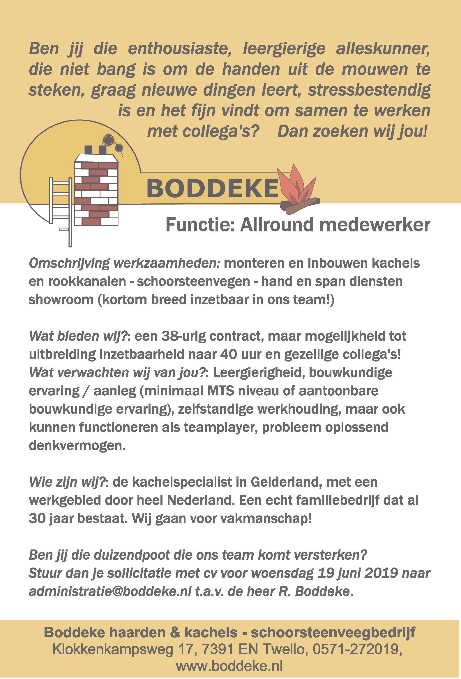 Boddeke zoekt een Allround medewerker