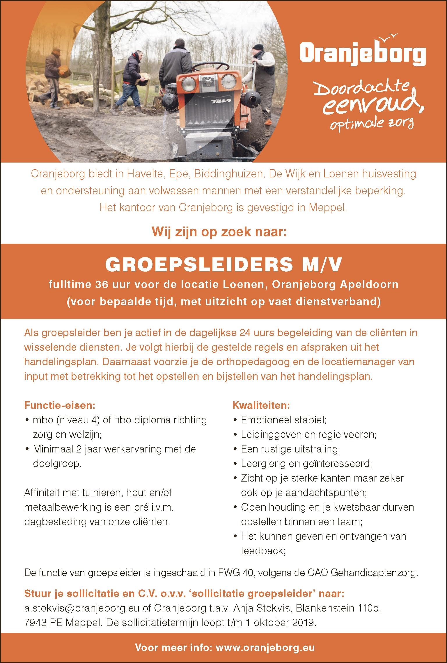 GROEPSLEIDERS M/V