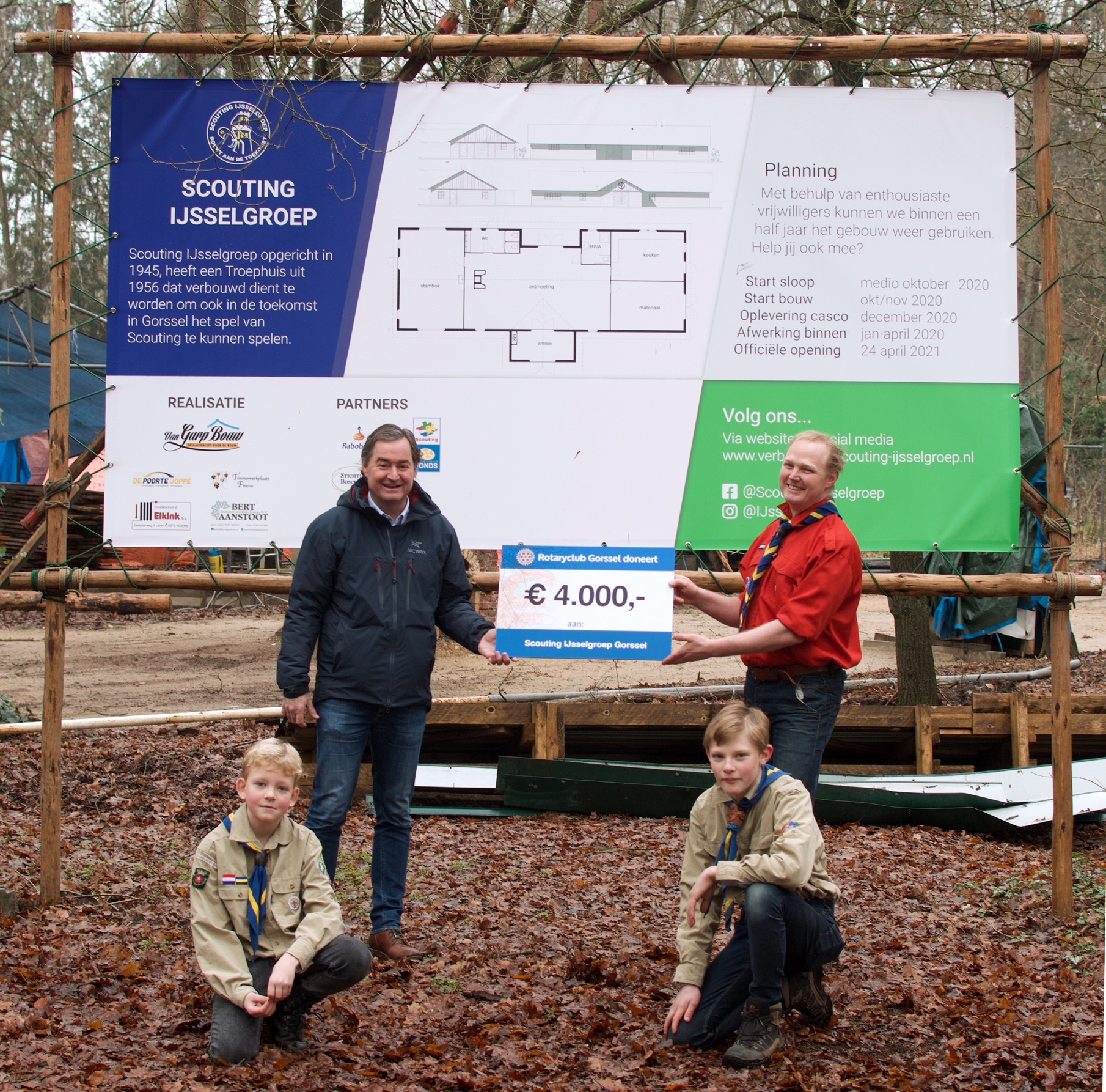 Rotary Gorssel steunt bouwplan Scouting met €4.000