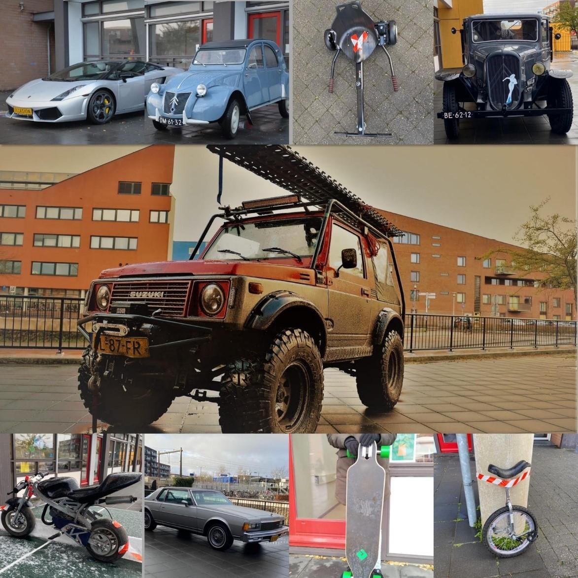 Heus wagenpark op schoolplein van OBS de Regenboog tijdens opening projectweek