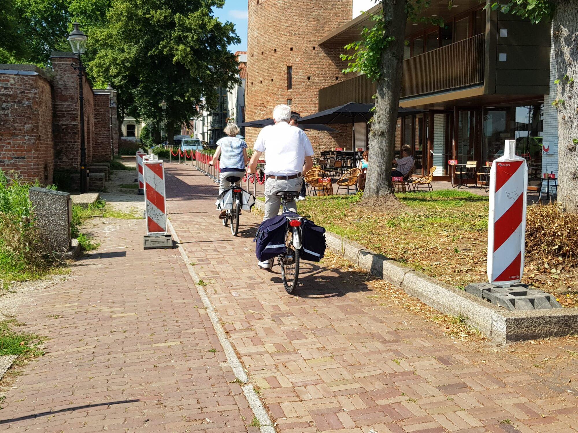 Tijdelijk fietspad achter de stadsmuur opengesteld in Deventer