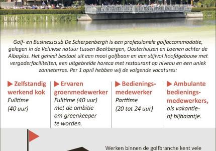 Golf- en Businessclub De Scherpenbergh. zoekt personeel