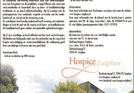 HOSPICE ZUTPHEN is op zoek naar eenCoördinator Bouwkundig Onderhoud