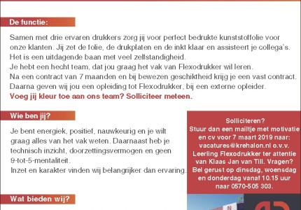 Fulltime Leerling Flexodrukker in 3 ploegendienst (m/v)