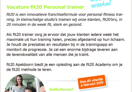 Vacature fit20 Personal trainer