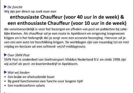 Per direct: enthousiaste chauffeursgezocht in Apeldoorn
