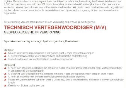 TECHNISCH VERTEGENWOORDIGER (M/V)