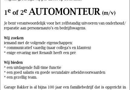 Garage Bakker is op zoek naar 1e of 2e automonteur (m/v)