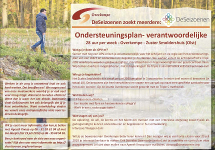 Ondersteuningsplan- verantwoordelijke 28 uur per week – Overkempe – Zuster Smoldershuis (Olst)