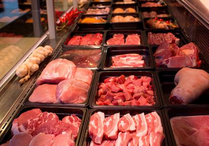 Vers vlees slagerij