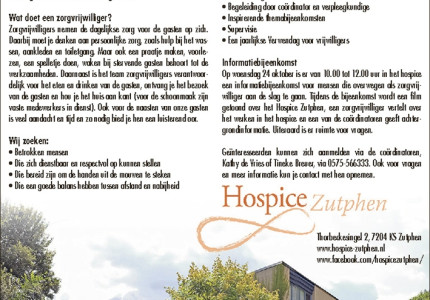 Hospice Zutphen heeft plaats voor nieuwe zorgvrijwilligers